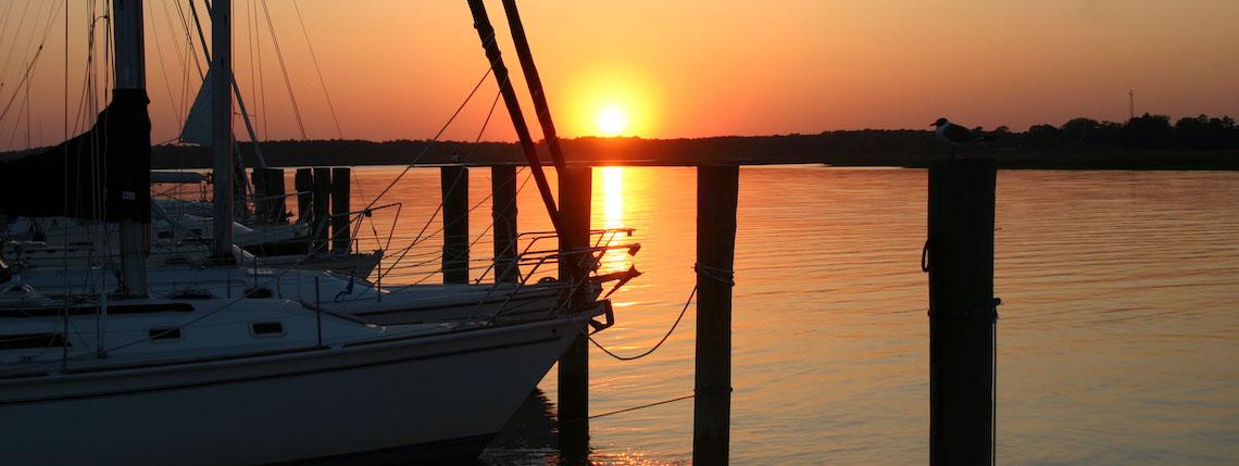 Gatling Pointe Marina At Sunset